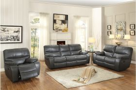 Ottawa Leather Power Reclining Living Room Set in Gray