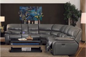 Ottawa Leather Reclining Sectional Sofa in Gray