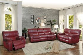 Ottawa Leather Reclining Living Room Set in Red