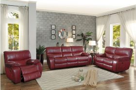 Ottawa Leather Power Reclining Living Room Set in Red