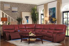 Ottawa Leather Reclining Sectional Sofa in Red