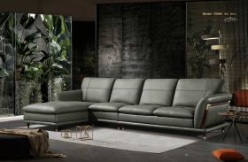Pampa Leather Modern Sectional Sofa in Grey-Green