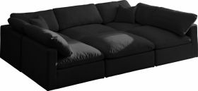 Lodi Velvet Standard Cloud Modular Sectional Sofa in Black