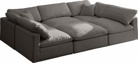 Lodi Velvet Standard Cloud Modular Sectional Sofa in Grey