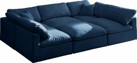 Lodi Velvet Standard Cloud Modular Sectional Sofa in Navy