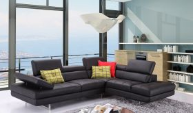 J&M A761 Italian Leather Sectional Sofa in Slate Black with Left Facing Chaise