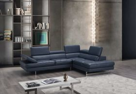 A761 Italian Leather Sectional Sofa in Blue