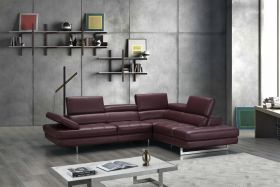 A761 Italian Leather Sectional Sofa in Maroon