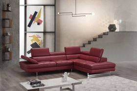 A761 Italian Leather Sectional Sofa in Red