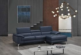 A973B Premium Leather Sectional Sofa in Blue