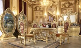 Abner Traditional Dining Room Set in Gold