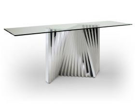 Greeley Modern Console Table with Glass Top in Clear