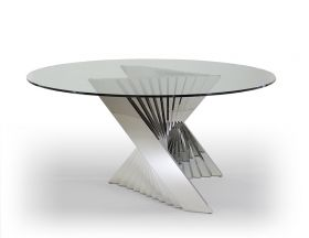 Greeley Modern Round Dining Table with Glass Top in Clear