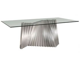 Greeley Modern Rectangle Dining Table with Glass Top in Clear
