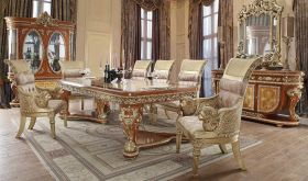 Acres Traditional Dining Room Set in Golden Tan