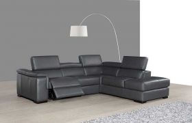 J&M Agata Premium Leather Sectional Sofa in Grey with Left Facing Chaise