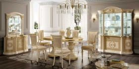Aida Dining Room Set in Gold Ivory Glossy