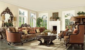 Akron Traditional Living Room Set in Chenille Gold & Brown