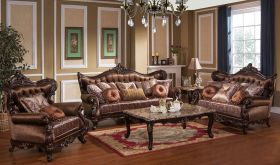 Alabama Traditional Living Room Set in Brown