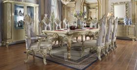 Duckburg Traditional Dining Room Set in Satin Gold