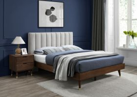 Albarracin Mid-Century Modern Polyester Linen Bedroom Set in Beige