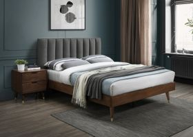 Albarracin Mid-Century Modern Polyester Linen Bedroom Set in Grey