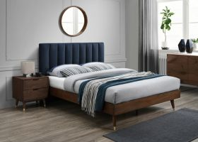 Albarracin Mid-Century Modern Polyester Linen Bedroom Set in Navy