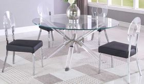 Alexander Casual Dining Room Set in Clear & Black