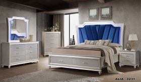 Alia Contemporary Bedroom Set in Gray White