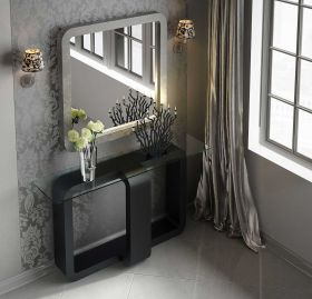 Alicante Modern Console Table in Clear & Black