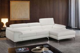 J&M Alice A973B Premium Leather Sectional Sofa in White with Left Facing Chaise