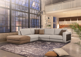 Allante Modern Left Sectional Sofa in Grey Brown