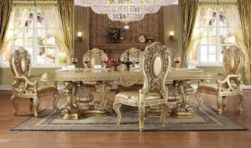 Allapattah Traditional Dining Room Set in Rich Gold