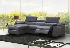 J&M Allegra Premium Leather Sectional Sofa in Slate Grey with Left Facing Chaise