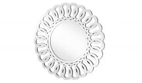 "Almond Modern 39"" Round Wall Mirror in Clear"