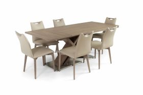 Telluride Modern Dining Room Set in Ash Gray & Beige