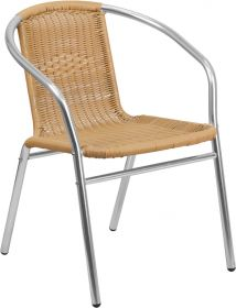 Aluminum and Beige Rattan Commercial Indoor-Outdoor Restaurant Stack Chair [TLH-020-BGE-GG]