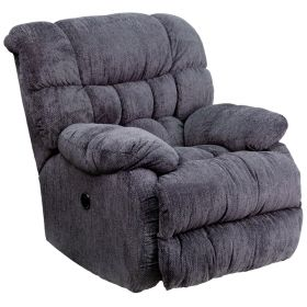 Contemporary Columbia Indigo Blue Microfiber Power Recliner with Push Button [AM-P9460-5861-GG]