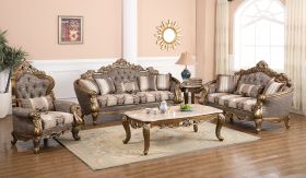 Amelia Traditional Living Room Set in Champagne