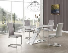 Andrew Modern Dining Room Set in Marble & Gray