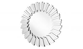 """Angelica Modern 39.5"""" Round Wall Mirror in Clear"""