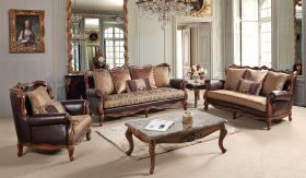 Anne Traditional Living Room Set in Brown