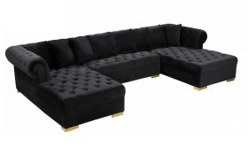 Ansonia Contemporary 3 Piece Velvet Sectional Sofa in Black & Gold