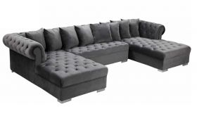 Ansonia Contemporary 3 Piece Velvet Sectional Sofa in Grey & Gold