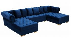 Ansonia Contemporary 3 Piece Velvet Sectional Sofa in Navy & Gold