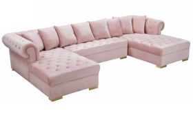 Ansonia Contemporary 3 Piece Velvet Sectional Sofa in Pink & Gold