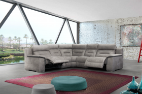 Apache Modern Sectional Sofa with 2 Electric Recliner in Grey