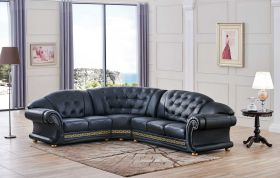 ESF Apolo Leather Sectional Sofa in Black with Left Facing Chaise