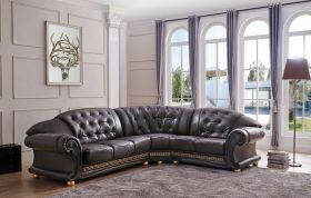 ESF Apolo Leather Sectional Sofa in Brown with Left Facing Chaise