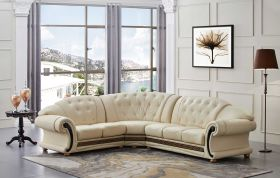 ESF Apolo Leather Sectional Sofa in Ivory with Left Facing Chaise